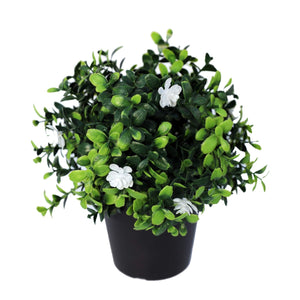 Small Potted Artificial Flowering Boxwood Plant UV Resistant 20cm