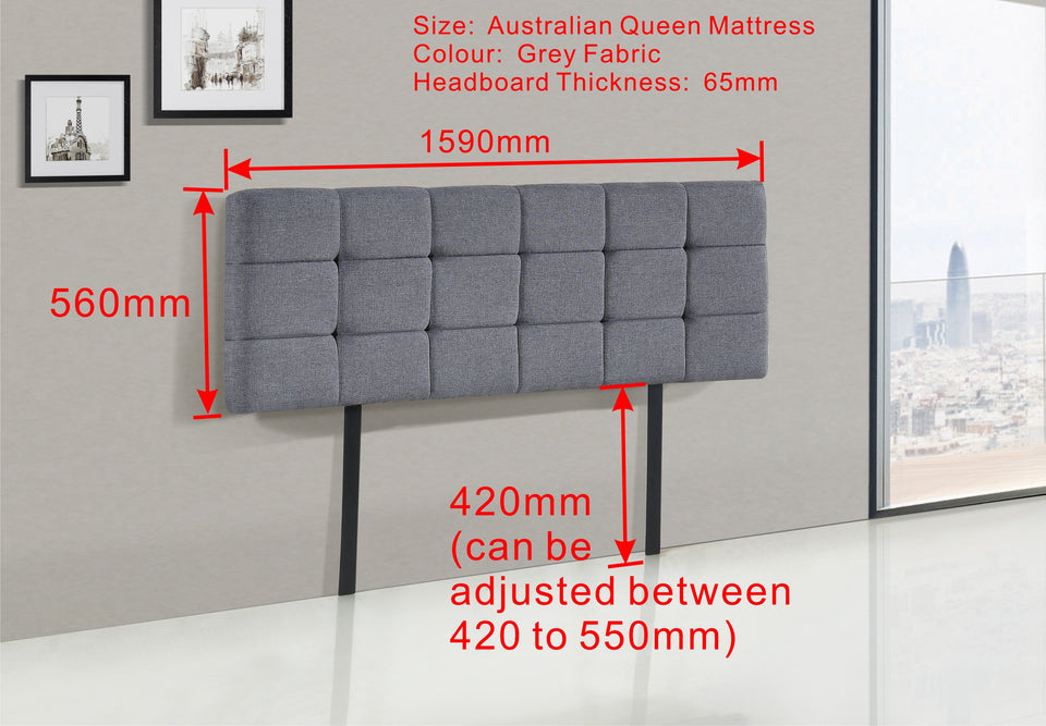 Linen Fabric Queen Bed Deluxe Headboard Bedhead - Grey