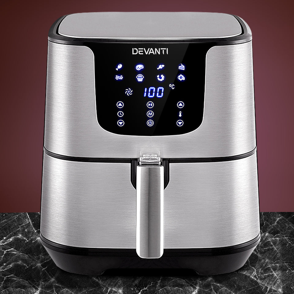 Devanti Air Fryer 7L LCD Fryers Oil Free Oven Airfryer Kitchen Healthy Cooker