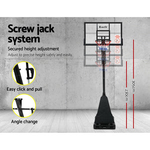 "Slam dunk, alley opp or just shooting a few hoops, the Everfit 48"" Basketball System handles all play like a real pro.    Featuring a mega-tough steel round pole system, the Basketball System can be adjusted to your preferred height of between 2.3m and 3.05m (full regulation height)."