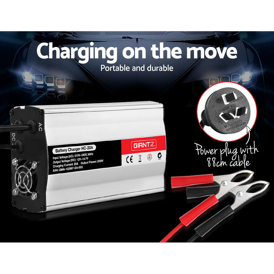 Giantz 12V Battery Charger 20 Amp Car ATV 4WD Boat Caravan Motorcycle