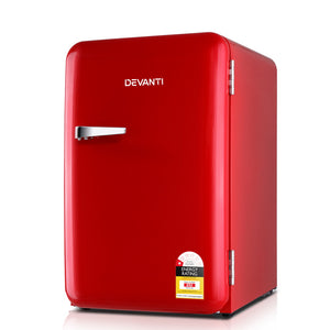 Devanti Retro Bar Fridge 70L Built-in Lamp Beverage Cooler Refrigerators
