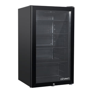 Devanti 98L Bar Fridge Glass Door Mini Freezer Fridges Countertop Beverage Commercial