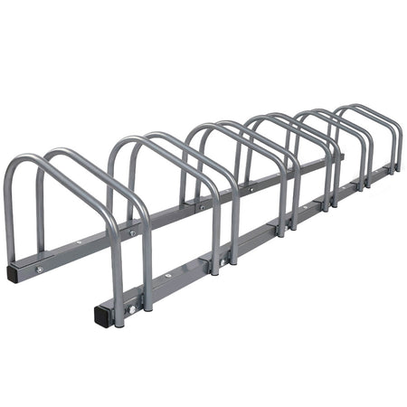 1 – 6 Bike Floor Parking Rack Instant Storage Stand Bicycle Cycling Portable Racks Silver
