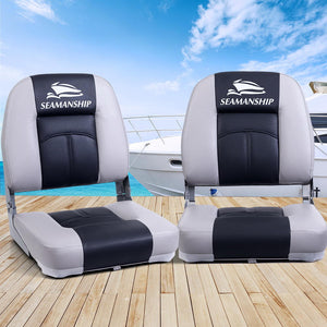 Seamanship 2X Folding Boat Seats Seat Marine Seating Set Swivels All Weather Charcoal & Grey
