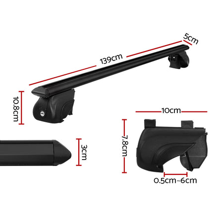 Universal Car Roof Rack Aluminium Cross Bars Adjustable 135cm Black Upgraded Holder Adjustable Car 90kgs load Carrier