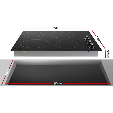 Devanti Ceramic Cooktop 60cm Electric Kitchen Burner Cooker 4 Zone Knobs Control