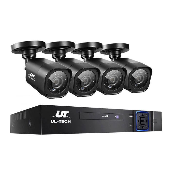 UL-TECH 4CH 5 IN 1 DVR CCTV Security System Video Recorder 4 Cameras 1080P HDMI Black