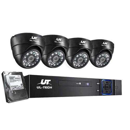 UL-tech CCTV Camera Security System Home 8CH DVR 1080P 4 Dome cameras with 1TB Hard Drive