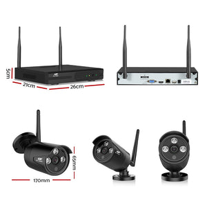 UL-Tech CCTV Wireless Security System 2TB 4CH NVR 1080P 2 Camera Sets