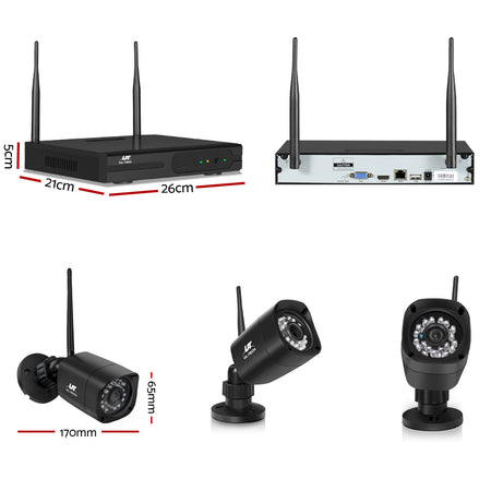 UL-tech CCTV Wireless Security Camera System 4CH Home Outdoor WIFI 4 Square Cameras Kit 1TB