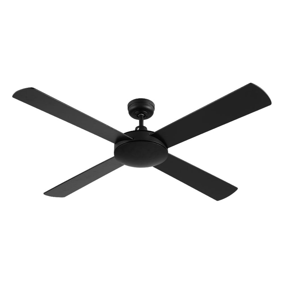 Devanti 52 inch 1300mm Ceiling Fan Wall Control 4 Wooden Blades Cooling Fans Black