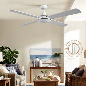 Devanti 52 inch 1300mm Ceiling Fan Wall Control 4 Wooden Blades Cooling Fans White