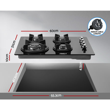 Devanti Gas Cooktop 60cm 4 Burner Glass Cook Top Cooker Stove Hob NG LPG Black
