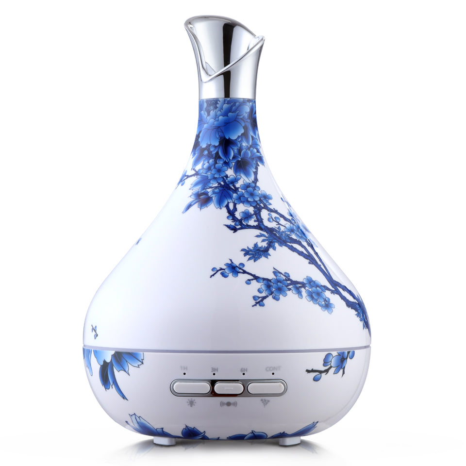 DEVANTI Aroma Diffuser Aromatherapy LED Night Light Air Humidifier Purifier Blue And White Porcelain Pattern 300ml
