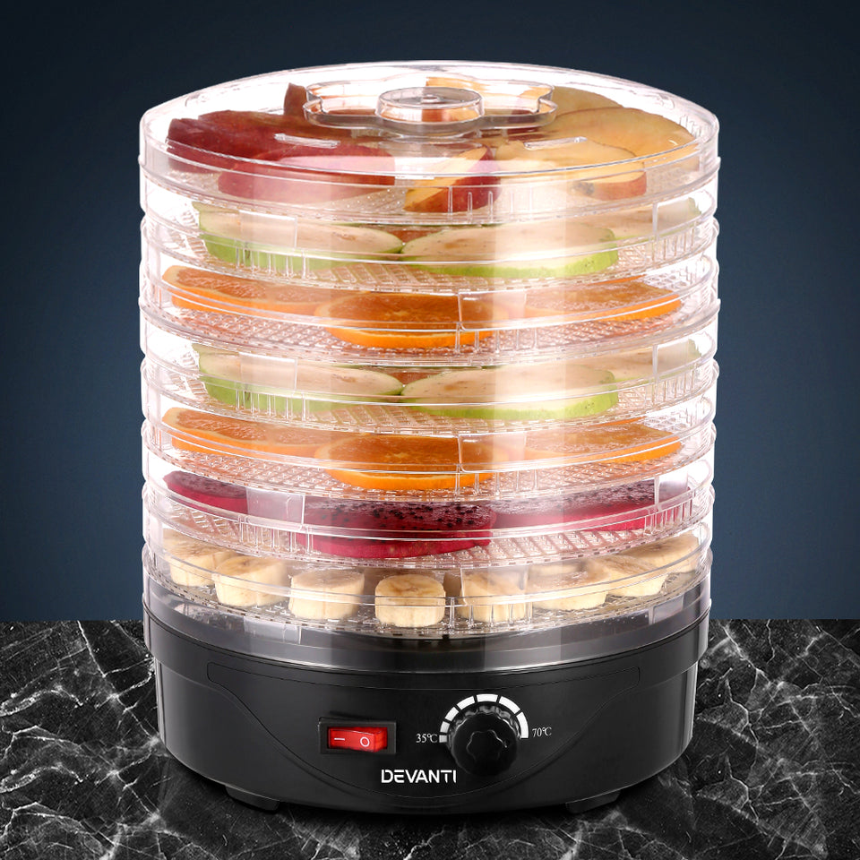 Devanti Food Dehydrator with 7 Trays - Black