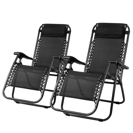 Gardeon Set of 2 Zero Gravity Chairs Reclining Outdoor Furniture Sun Lounge Folding Camping Lounger Black