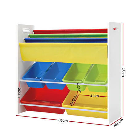 Keezi Kids Bookcase Childrens Bookshelf Toy Storage Organizer 3Tier Display Rack