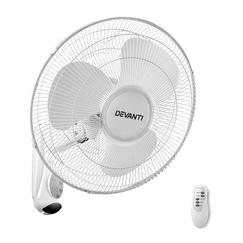 Devanti 40cm Wall Mounted Fan with Remote Control - White