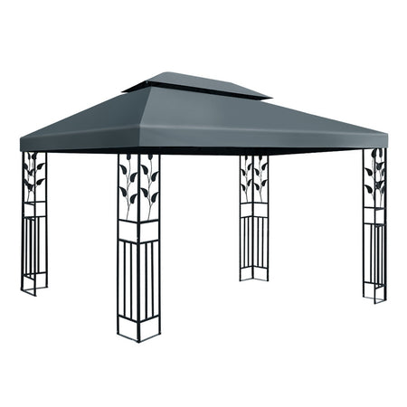 Instahut Gazebo 4x3m Party Marquee Outdoor Wedding Event Tent Iron Art Canopy Grey