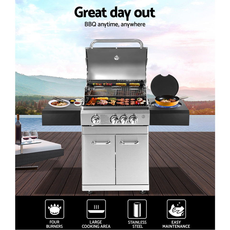 Stainless Steel 4 Burner Gas BBQ