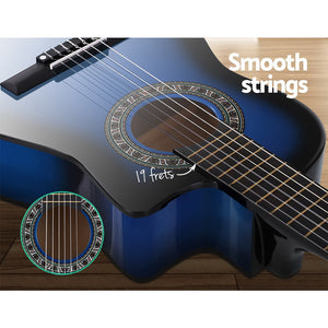 "Alpha 34"" Inch Guitar Classical Acoustic Cutaway Wooden Ideal Kids Gift Children 1/2 Size Blue"
