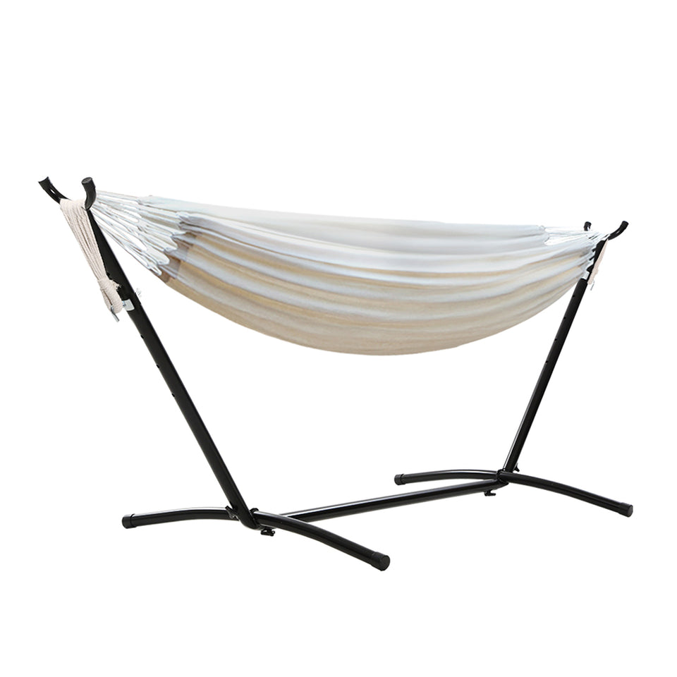 Gardeon Camping Hammock With Stand Cotton Rope Lounge Hammocks Outdoor Swing Bed
