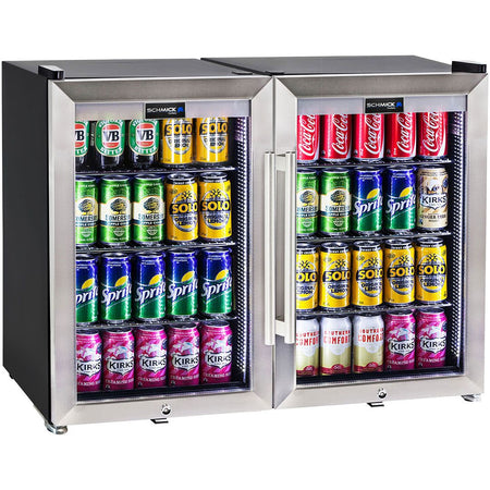 Schmick Tropical Triple Glazed Outdoor 2 Glass Door Alfresco Bar Fridge 140Litre MODEL: HUS-SC70-SS-COMBO
