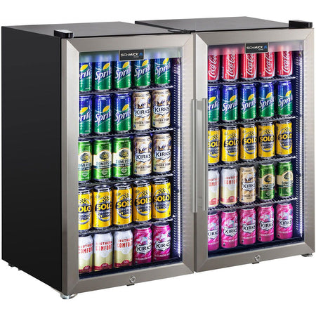 Schmick Outdoor Triple Glazed Alfresco Bar Fridge Combo With LED Strip Lights, Lock and LOW E Glass, indoor use also perfect! MODEL: HUS-SC88-SS-COMBO
