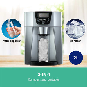 Products Devanti 2L Portable Ice Cuber Maker & Water Dispenser - Silver