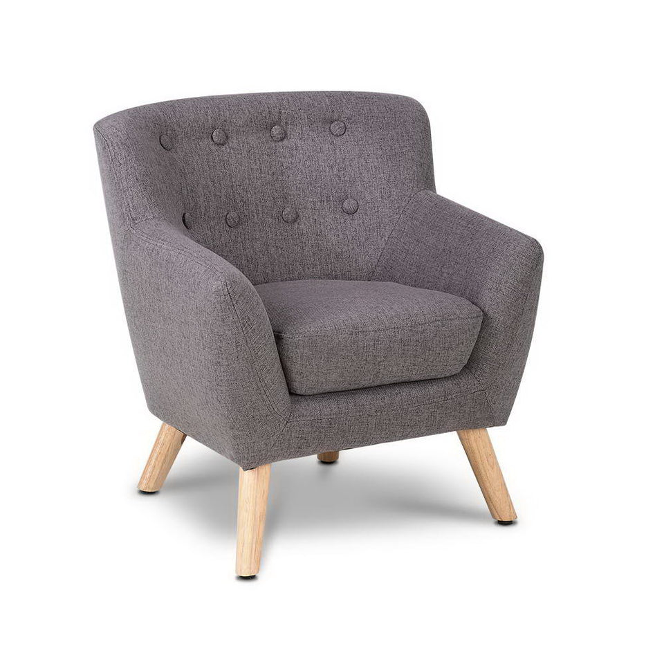 Keezi Kids Sofa Armchair Fabric Wooden Lorraine French Couch Children Room Grey