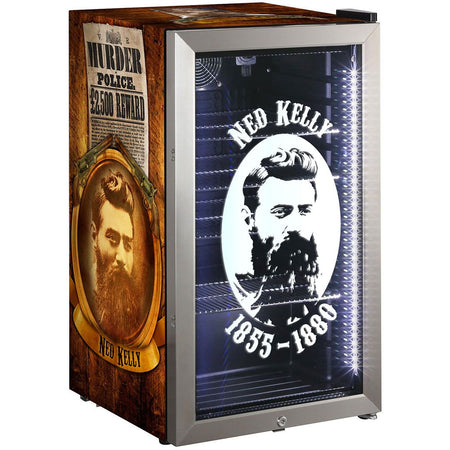 Ned Kelly Themed Alfresco Bar Fridge With Led Strip Lights, Lock and LOW E Glass MODEL: HUS-SC88-SS-NED