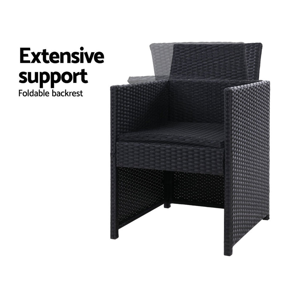 Set of 2 Outdoor Dining Chairs Wicker Chair Patio Garden Furniture Setting Lounge Cafe Cushion Bistro Set Gardeon Black