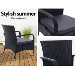Outdoor Dining Chairs x2 Wicker Chair Patio Garden Furniture Bistro Setting Lounge Cafe Cushion Gardeon XL Black
