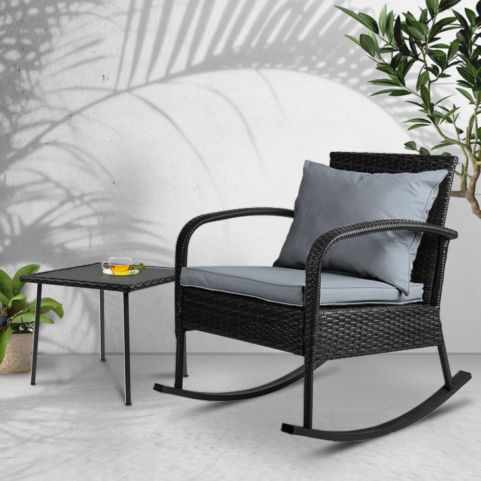 Gardeon Wicker Rocking Chairs Table Set Outdoor Setting Recliner Patio Furniture