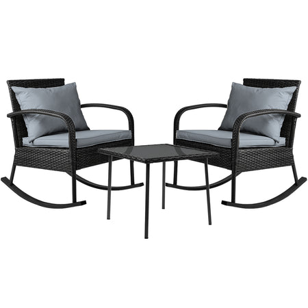 Gardeon 3 Piece Outdoor Chair Rocking Set - Black