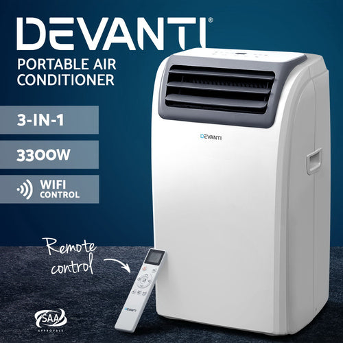 Devanti Portable Air Conditioner Cooling Mobile Fan Cooler Dehumidifier Window Kit White 3300W