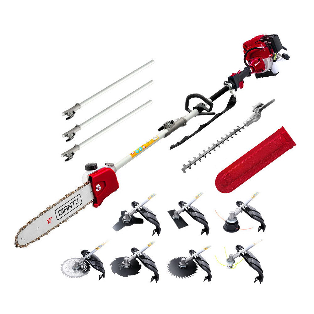 Giantz 4-STROKE Pole Chainsaw Hedge Trimmer Brush Cutter Whipper Multi Tool Saw