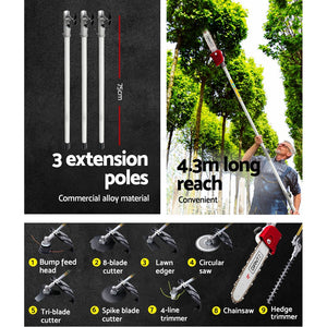 Gizantz 65CC Pole Chainsaw Hedge Trimmer Brush Cutter Whipper Snipper Multi Tool