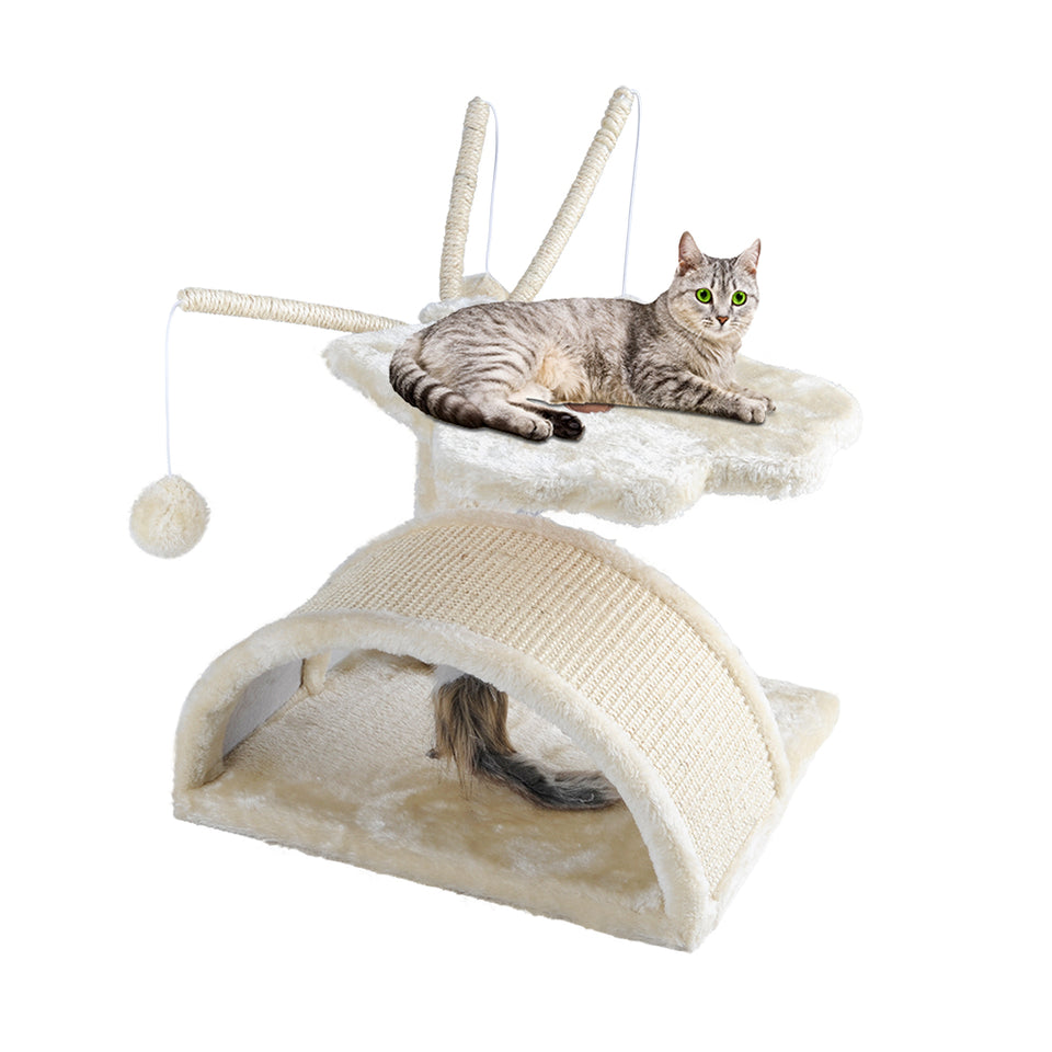 i.Pet Cat Tree 45cm Trees Scratching Post Scratcher Tower Condo House Furniture Wood Beige