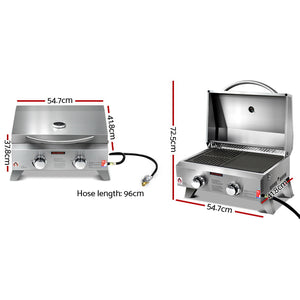 Grillz Portable Gas BBQ LPG Oven Camping Cooker Grill 2 Burners Stove Outdoor