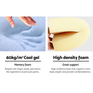 Giselle Bedding 2X Memory Foam Wedge Pillow Neck Back Support with Cover Waterproof Blue