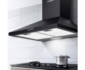 Devanti Pyramid Range Hood Rangehood 600mm 60cm Kitchen Canopy Black