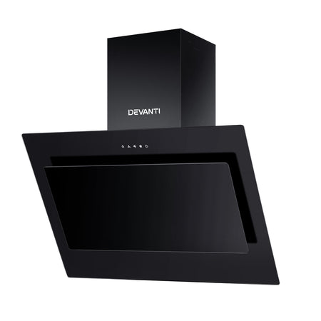 DEVANTI Rangehood 900mm Black Angled Side Draft Range Hood Canopy Glass 90cm