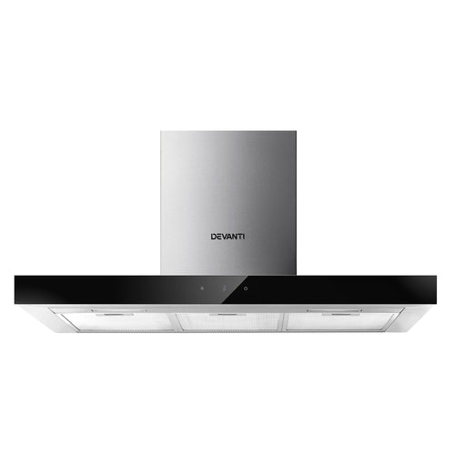 Devanti Range Hood 900mm Rangehood 90cm Stainless Steel Glass Kitchen Canopy Black