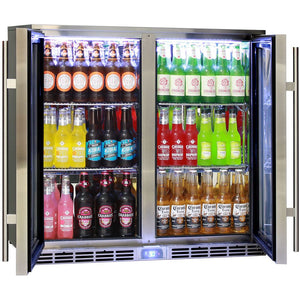 Alfresco Glass Twin Door Bar Refrigerator With Outdoor IP34 Rating with LOW E Glass MODEL: GSP2H-SS