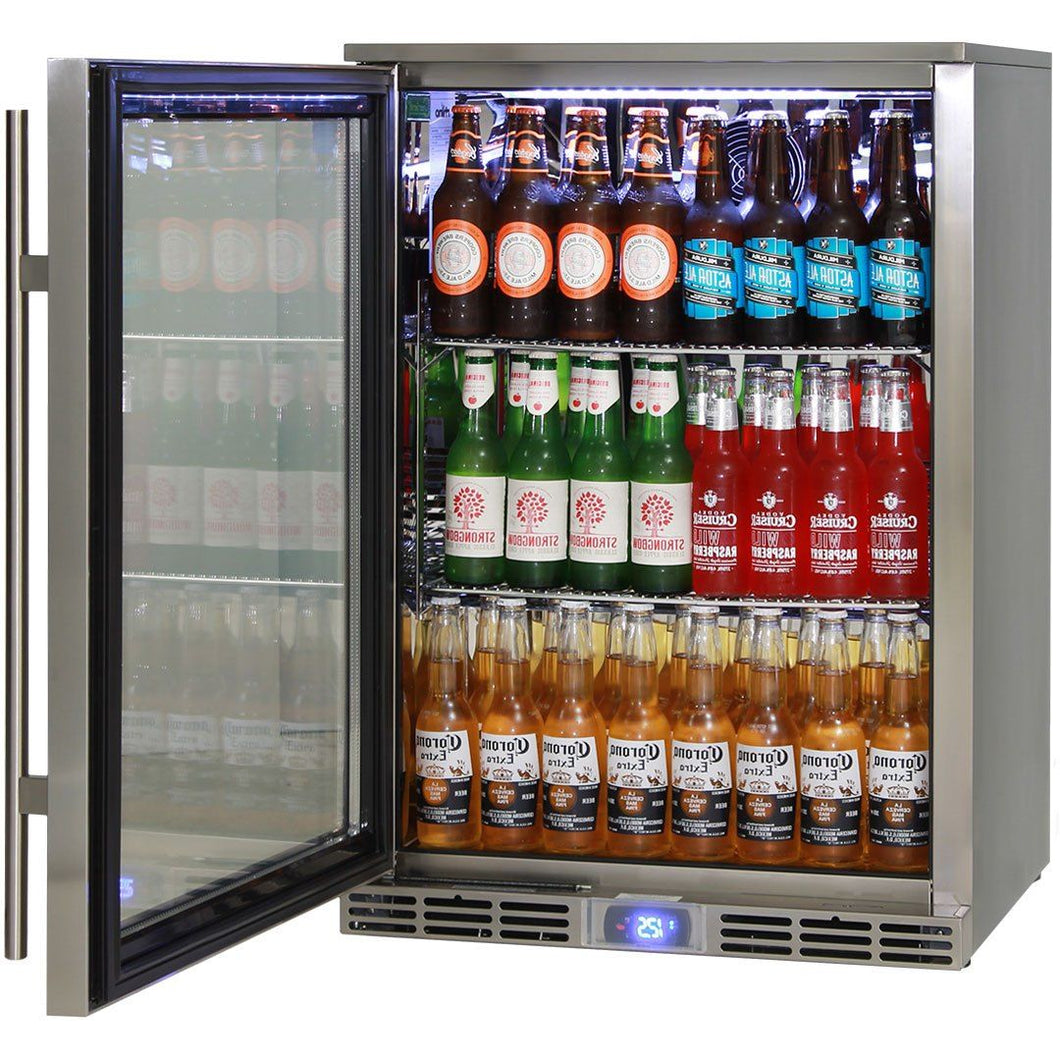 Rhino Alfresco Kitchen Glass Door Outdoor Bar Fridge Great For Cold Beer In Hot Climates MODEL: GSP1HL-SS