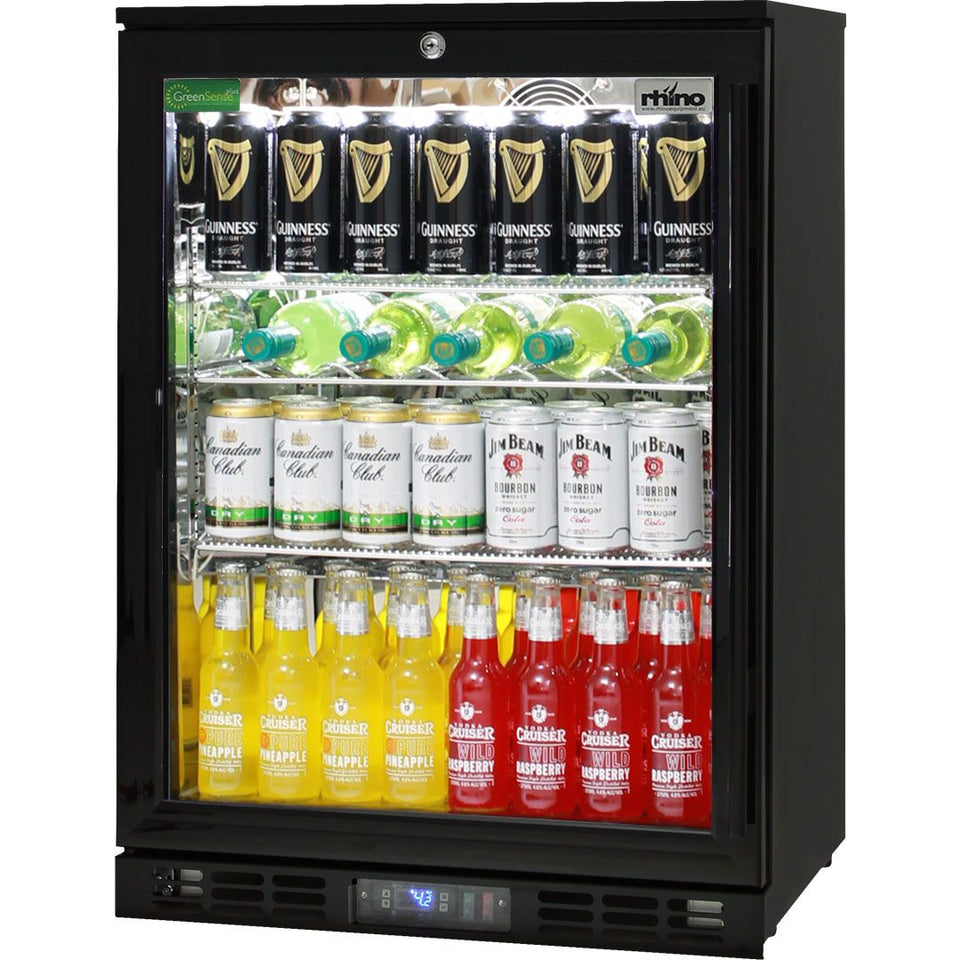 Black Commercial Glass 1 Door Bar Fridge Energy Efficient LG Compressor MODEL: SG1L-B