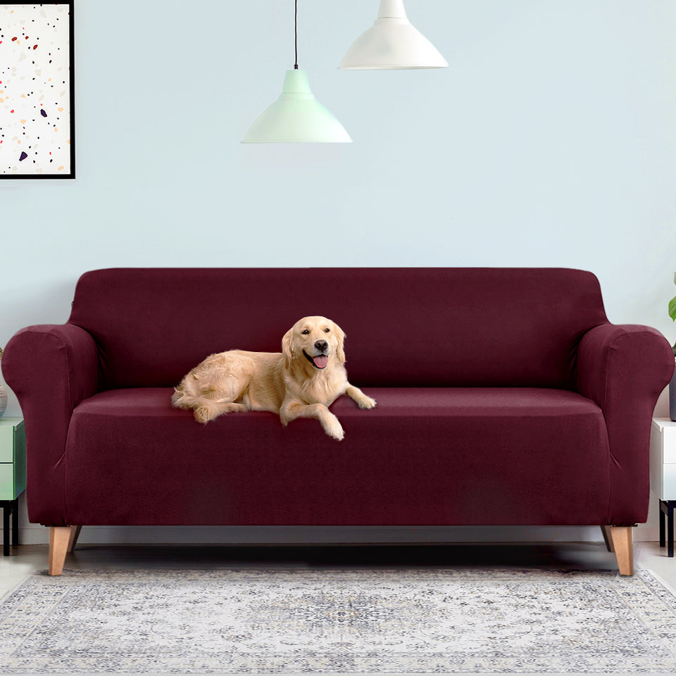 Artiss Sofa Cover Elastic Stretchable Couch Covers Burgundy 4 Seater