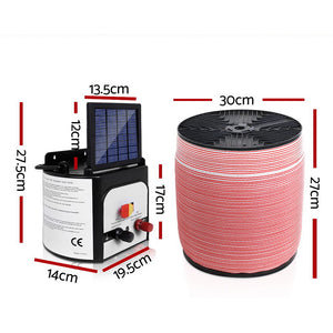 Giantz 8KM Solar Electric Fence Energiser Energizer 0.3J + 1200M Electrical Fencing Wire Tape Farm
